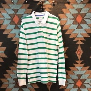 American Eagle Outfitters Green Striped Shirt